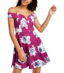city studios juniors' off-the-shoulder floral-print dress