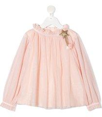 billieblush star brooche tulle blouse - pink