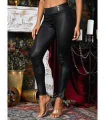 negro cruzado diseño cuero sintético pantalones