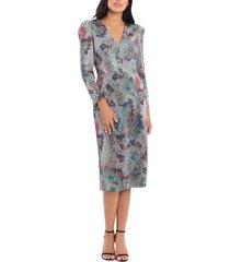 women's maggy london sequin floral long sleeve dress, size 16 - metallic