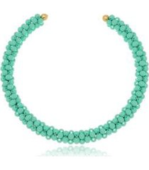 colar le diamond bolas resina turquesa - feminino