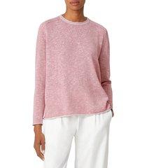 women's eileen fisher organic linen & organic cotton saddle shoulder sweater, size x-small - pink