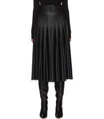 belted pleat midi faux leather skirt