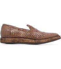 dolce & gabbana braided calfskin derby loafers - brown