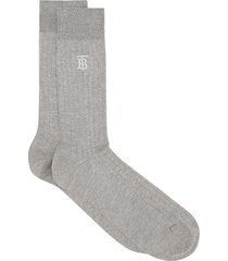 burberry embroidered monogram ribbed socks - grey