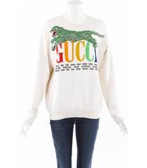 gucci cities sequin panther sweatshirt cream/multicolor sz: xs