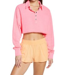 women's free people fp movement crop half snap pullover, size small - pink