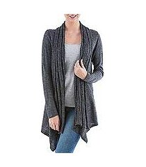 cardigan sweater, 'grey waterfall dream' (peru)