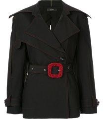 ellery contrast buckle belted blazer - black