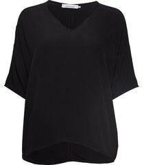 mains v-neck ss 5687 blouses short-sleeved svart samsøe samsøe