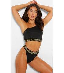 high leg geo tape mix and match bikini bottoms, black