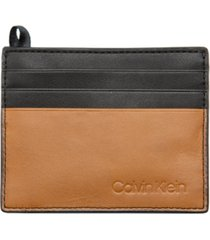 calvin klein men's colorblocked leather card case with money clip