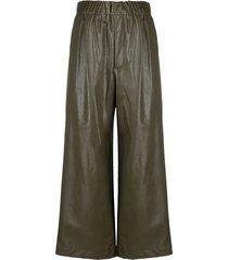 jejia vegan leather trousers - green