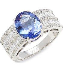 effy women's 14k white gold, diamond & tanzanite ring - size 7.5