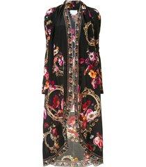 camilla lightweight long silk jacket - black