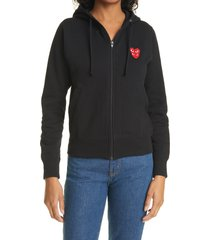 women's comme des garcons play layered hearts applique zip hoodie, size small - black