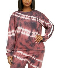 lala anthony trendy plus size tie-dye zip-back sweatshirt