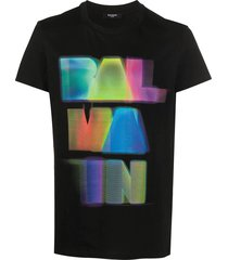 black multicolored logo t-shirt