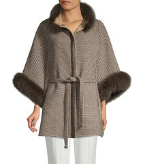 made for generation fox-fur trim wool & cashmere cape jacket
