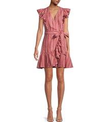 rebecca taylor women's striped linen wrap dress - desert rose - size 00