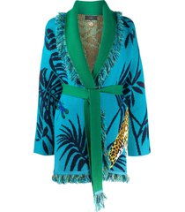 alanui jaguar belted cardigan - blue