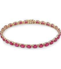 effy women's 14k yellow gold, white diamond & ruby tennis bracelet