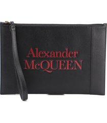 alexander mcqueen logo-print zip clutch
