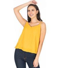 blusa de tiras mostaza efecto recogido