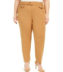 calvin klein plus size d-ring belted pants