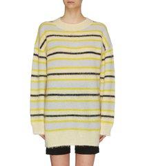 fluffy longline striped sweater