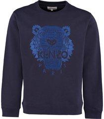 kenzo embroidered cotton crew-neck sweatshirt