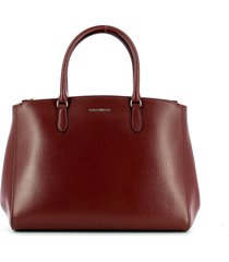 coccinelle dark red medium textured sortie top-handles bag