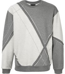 3.1 phillip lim argyle patchwork crew neck sweatshirt - grey