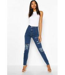 tall distressed skinny jeans, indigo