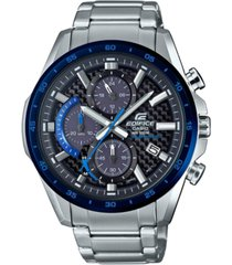 edifice men's solar chronograph stainless steel bracelet watch 47.6mm