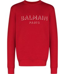 balmain logo-print long-sleeve sweatshirt - red