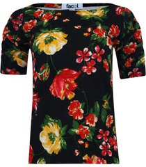 camiseta floral con recogido color negro, talla 6