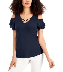 jm collection crisscross cold-shoulder top, created for macy's