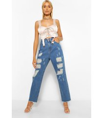 extreem gescheurde mom jeans, middenblauw