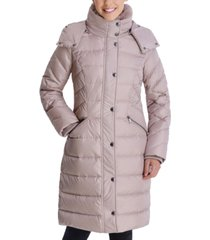 london fog faux-fur collar hooded down puffer coat