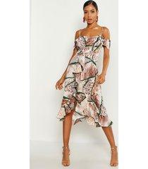 woven mixed animal print ruffle maxi dress, tan