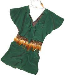 hafize ozbudak designer t-shirts & tops, jade green silk tunic with feather belt