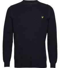 grid stitch jumper gebreide trui met ronde kraag blauw lyle & scott