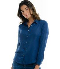 camisa para mujer en poliester azul azul talla l