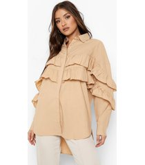 oversized blouse met franjes, camel