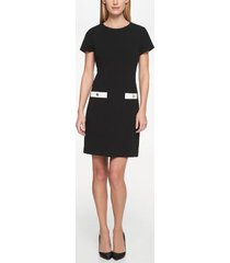 tommy hilfiger women's essential pocket dress black/ ivory - 12