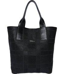 bolsa couro griffazzi shopping bag preta - kanui