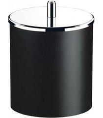 lixeira brinox pp com tampa inox, preta, 5,4 litros
