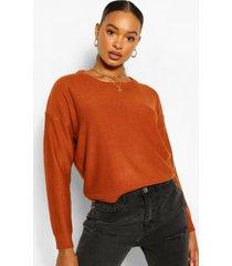 basic scoop neck sweater, gingerbread