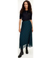 tommy hilfiger women's icon pleated midi skirt navy / green - 0